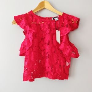 Another Story Red Lace Crop Top NWT